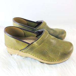 Green Leather Dansko Clogs